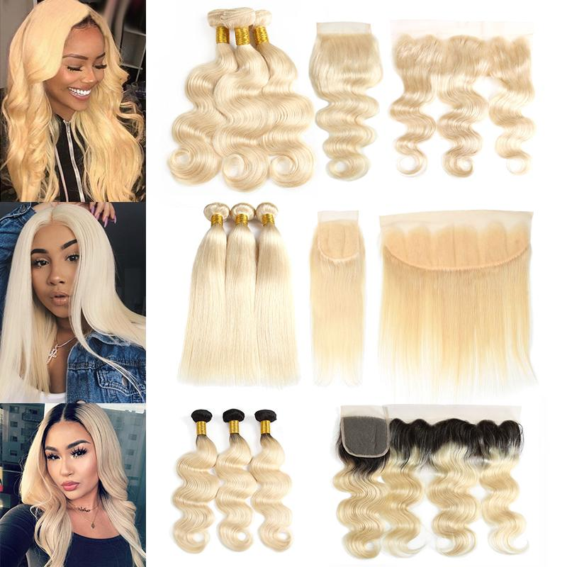Wewill Mink Brazilian Virgin Hair 613 Blonde 3 Bundles with Frontal Closure Straight Body Wave Ombre 1B/613 Human Hair Bundles with Closures