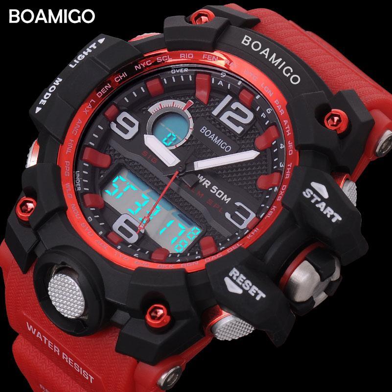499b6049081 Compre X Homens Esporte Relógios BOAMIGO Marca LED Digital Relógios Militar Analógico  Relógio De Quartzo Pulseira De Borracha Vermelha 50 M Reloj Hombre À ...