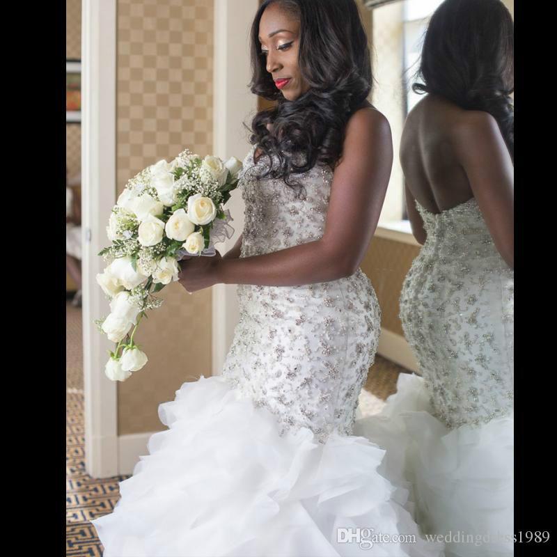 Luxury Ruffle Tiers Crystal Mermaid Wedding Dresses Plus Size Organza Beads African Arabia Plus Size Bridal Gown Bride Dress New Arrival