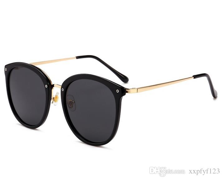 남자 여성 큰 프레임 태양 안경 라운드 편광 안경 화려한 숙녀 선글라스 조수 남자의 얼굴 패션 성격 눈 안경 A359