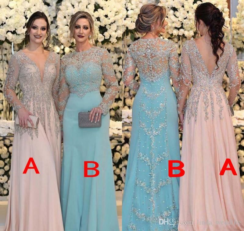 62ddeda6d1 2018 Beaded Mother Of The Bride Dresses Mermaid Sheer Long Sleeves Formal  Godmother Evening Wedding Party Guests Gown Plus Size Custom Made Bride Of  Mother ...