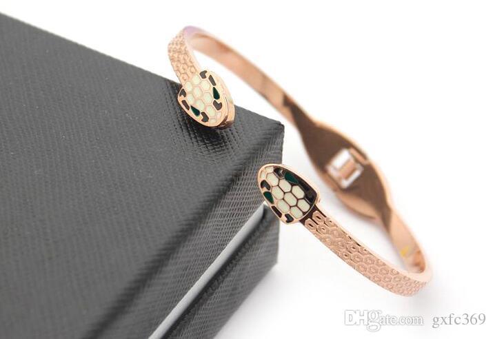 Titanyum çelik takı çift yılan kafa damla açılış bilezik 18 K altın Bayan yılan kafa bilezik Avrupa ve Amerikan versiyonu