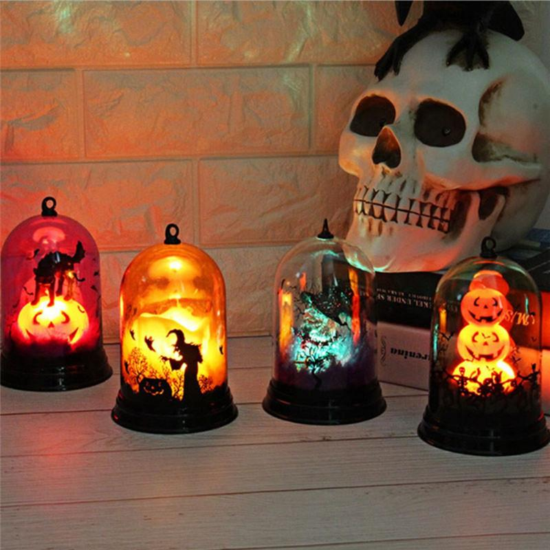 Zucca Halloween Gatto.Led Light With Cover Halloween Hanging Flame Light Batteria Alimentata Zucca Candela Strega Gatto Fiamma Horrible Home Decorations Novita