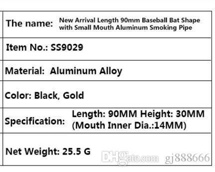 New 90mm Aluminum Alloy Baseball Bat Modeling and Small Pipe