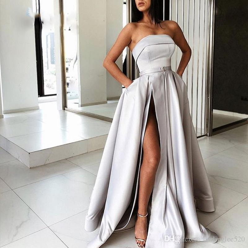Sexy Prom Evening Dresses A Line Satin Strapless Belt Sash Floor Length Side Slit Party Pageant Formal Dress Special Occasion Evening Gowns