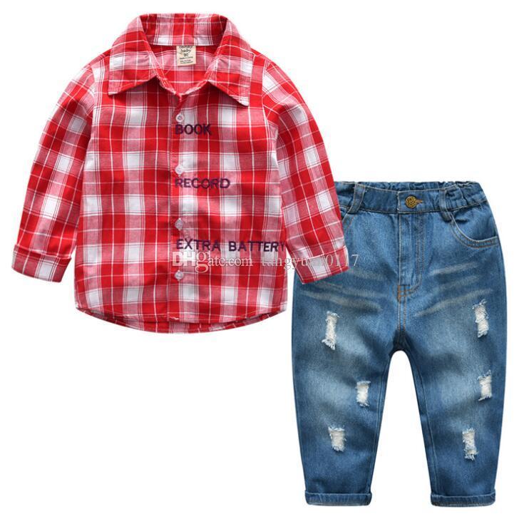 2365de0405ab 2019 Cute Infant Baby Boy Clothes Blue Plaid Jumpsuit+ Jeans Baby ...