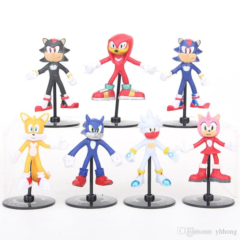 7pcs/set 8cm Sonic Boom Rare Dr Eggman Shadow Sonic The Hedgehog Action  Figures Toy PVC Shadow Tails Characters Brinquedos Gift