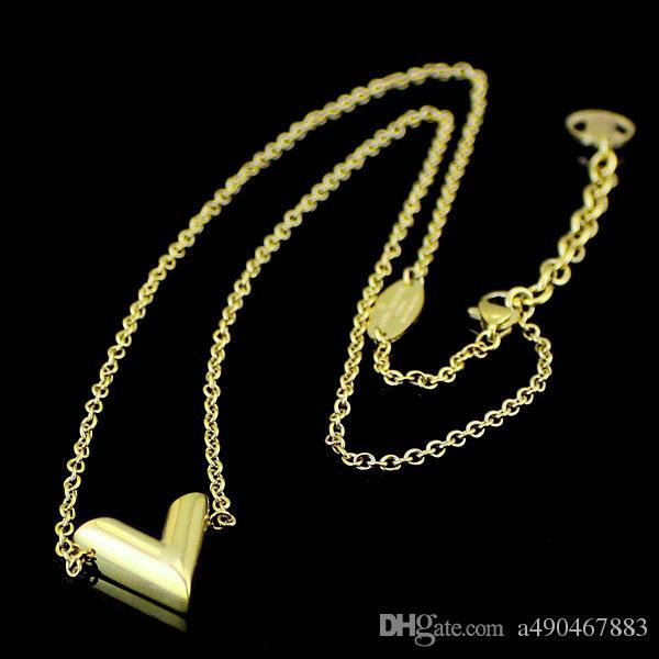 New high quality V-shaped stainless steel necklace 18K gold rose silver necklace come with dust bag for couples gift