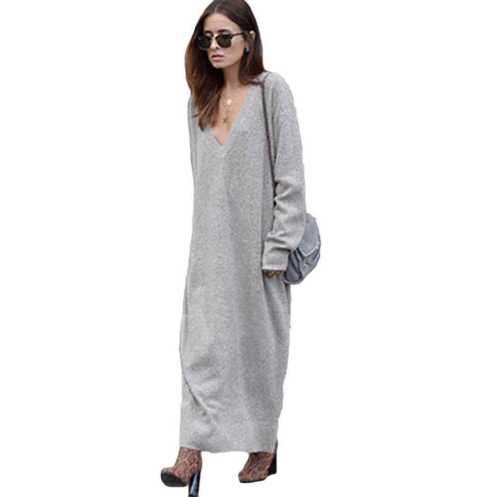 bbcd92f6bed 2019 New Fashion Sexy Winter Women Maxi Loose Knitted Sweater Dress Deep V  Neck Long Sleeve Ladies Knitwear Casual Jumper Dress Ladies Dresses On Sale  ...