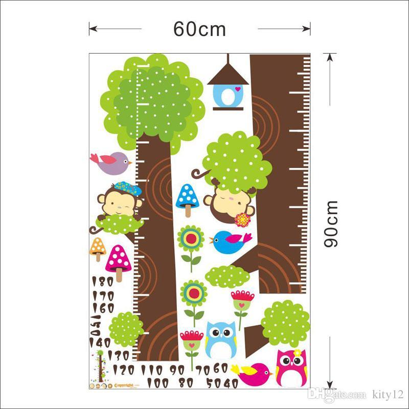 Hot vendita Gufo scimmia uccello decalcomanie della parete di bambini del fumetto albero fiore grafico crescita Wall Stickers Art Home decorazioni animali