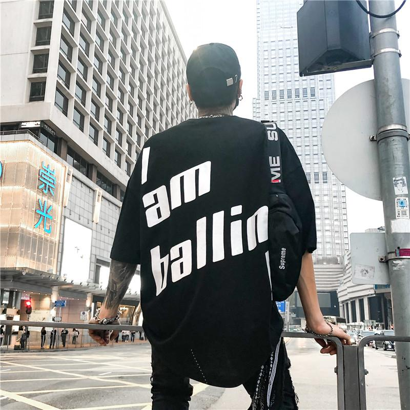 2019 Letter Printing Oversized Tee Shirts Men 2018 Summer Loose