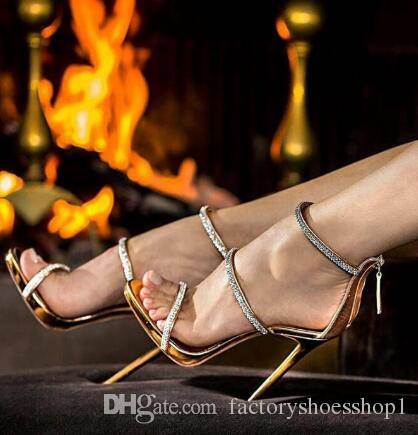 2018 Seksi altın yüksek topuklu burnu açık ayak bileği kayışı topuklu sandalet güzel kadın pompaları stilettos sparkle taklidi pompaları ayakkabı lady
