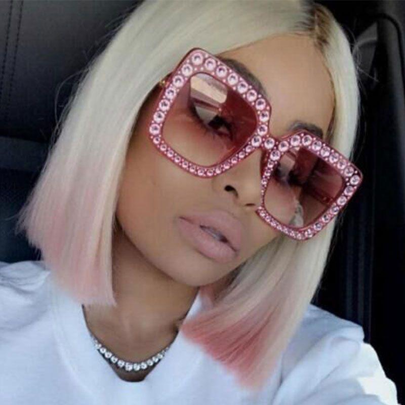 644ea3b309 CCSPACE Ladies New Diamond Glasses Square Oversized Sunglasses For Women  Luxury Brand Designer Eyewear Shades Big Frame 45195 Retro Sunglasses  Baseball ...