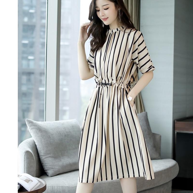 0f0aab447 Compre 2018 Vestido De Mujer Elegante De Manga Corta Estilo Coreano  Feminino Vestido De Verano Casual O Cuello Mini Vestidos Azul Más El Tamaño  4XL A  21.66 ...