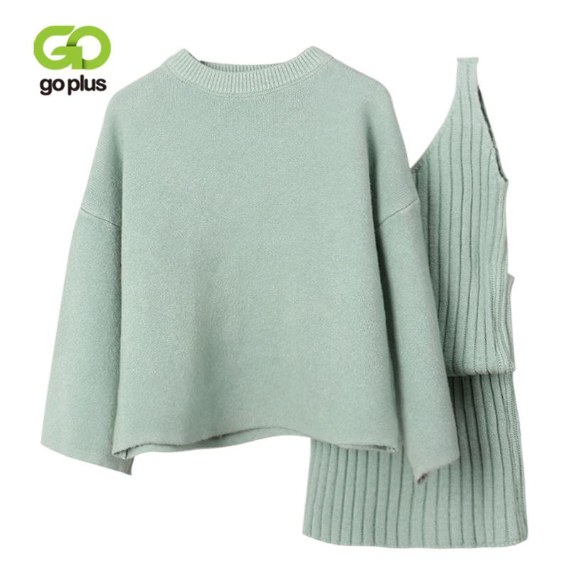 5df3d9a16b 2019 GOPLUS Women Sweater Dress Set Two Pieces Suit Autumn Winter O Neck  Loose Pullovers And Knitted Vest Dress Jumper Female Suits From Buttonhole