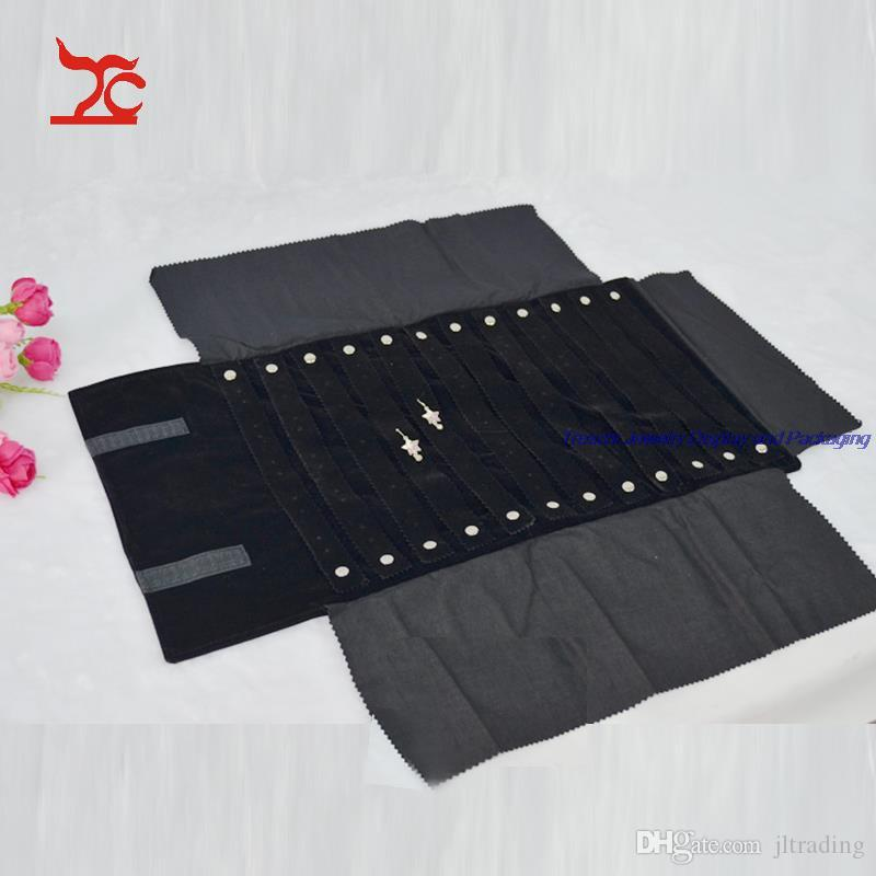 Retail Grey Black Velvet Jewelry Display Casket Stud Earrings Storage Bag Portable Holder for Fashion Jewelry Carrying Case Travel Roll Bag