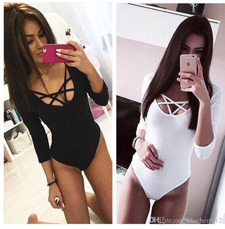 Sexy Sliming Round Neck 3/4 Sleeve Bandage Cross Women Ribbed Bodysuits Playsuits Rompers Night Party Jumpsuits