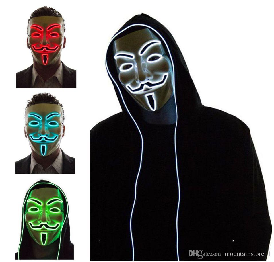 Light Up LED Máscara V para Vendetta Anonymous Guy Fawkes Disfraz Cosplay Cool Free Shipping 10 Color