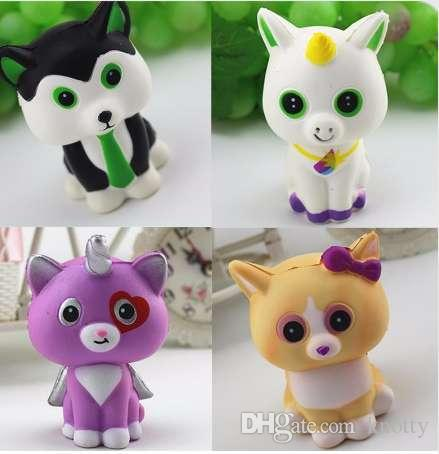 New Arrival Kawaii Mini Horse Cat Fox Dog Slow Rising Squishy Animal Cartoon Cute Squeeze Bread charms Cake Kid Toy Gift Sale