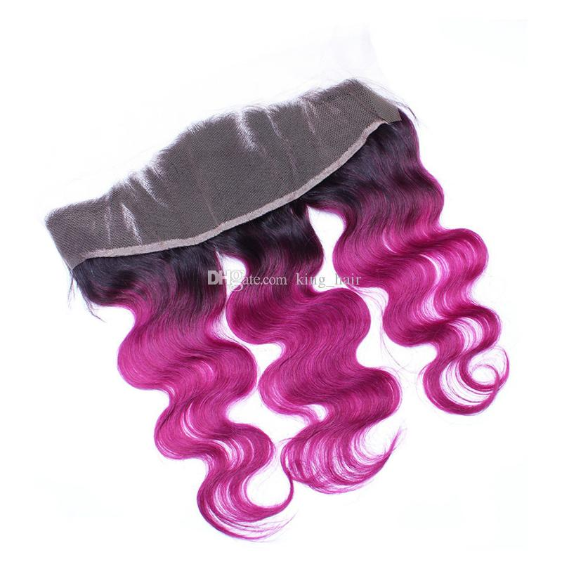 Brazilian Body Wave 1B Purple Hair Weave With Full Lace Frontal Two Tone Ombre 1B Purple Hair Extensions With Frontal Closure 13x4