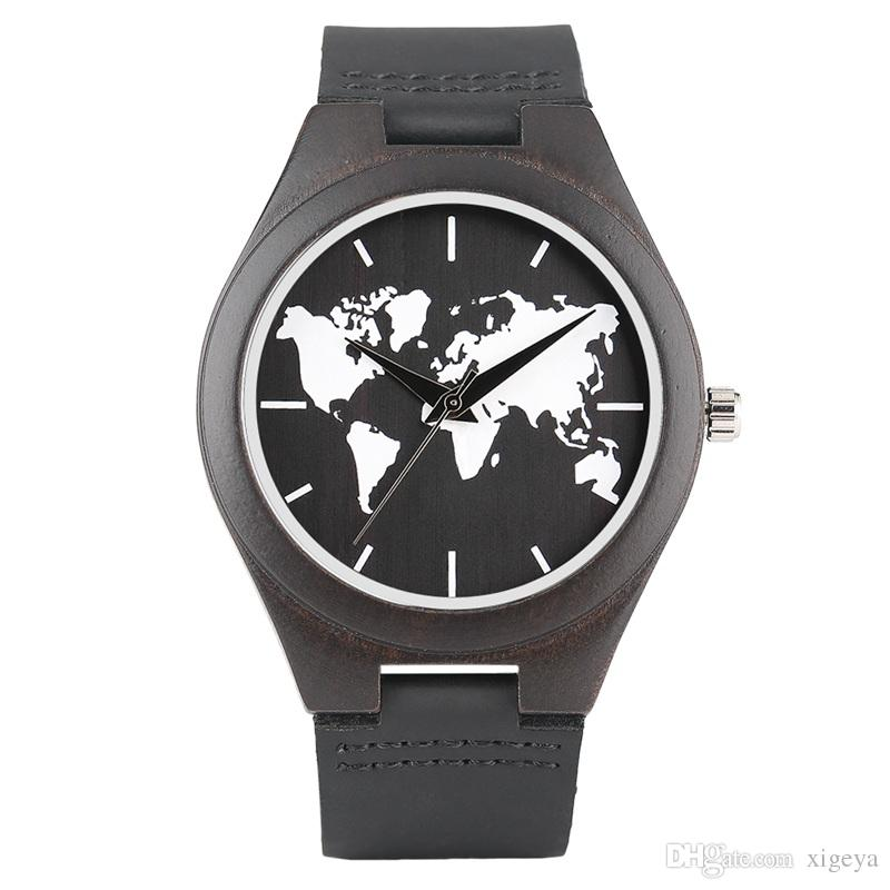 New arrival world map dial wood watch for men black genuine leather new arrival world map dial wood watch for men black genuine leather strap wristwatch sport outdoor clock gifts watches for sale wrist watches from xigeya gumiabroncs Image collections