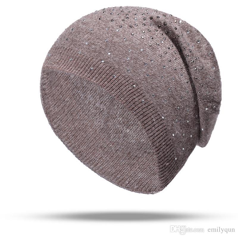 Compre Nuevo Sombrero De Punto Otoño Invierno Sombrero Gorros De Lana  Gorras Moda Para Mujer Cachemira Cálido Gorra Dama Elasticidad Gorro De  Punto ... 1b42840bed8f