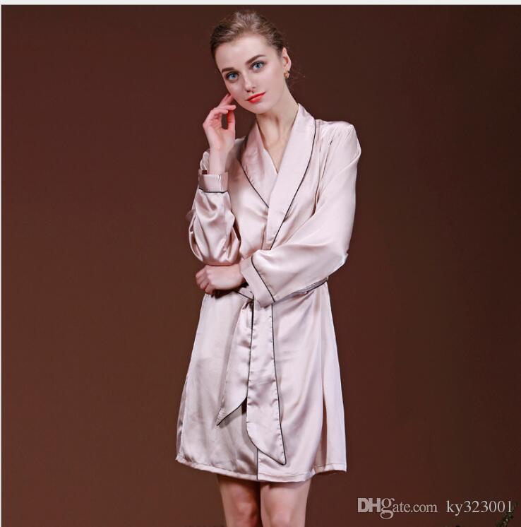 8bafa9bd27 2019 Women Satin Kimono Robe Sleepwear Silk Pajama Casual Bathrobe Long  Sexy Nightgown Dressing Gown Night Robes From Ky323001