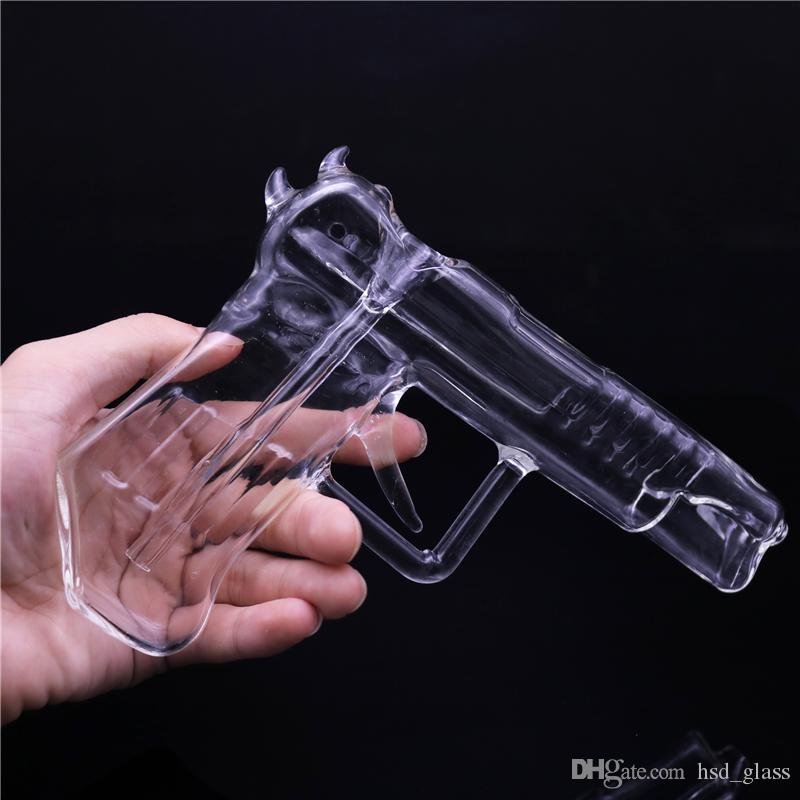Portable Glass Smokig Pipe Clear Glass Gun Shaped Water Pipes Hookah Pipes Glass Bong Dab Oil Rigs Free Shipping