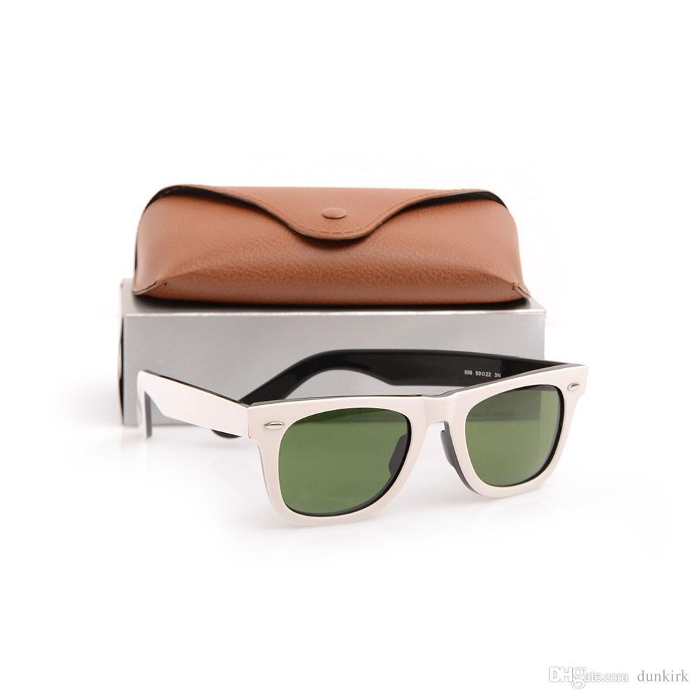 High Quality Plank Sunglasses 2140 White Frame Green Lens Sun glasses Metal hinge Sunglasses Mens Sunglasses Womens glasses ray Sun glasses