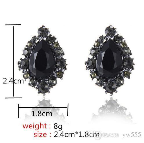 bcf1915db New Arrival Vintage Black Rhinestone Stud Earrings For Women Fashion ...