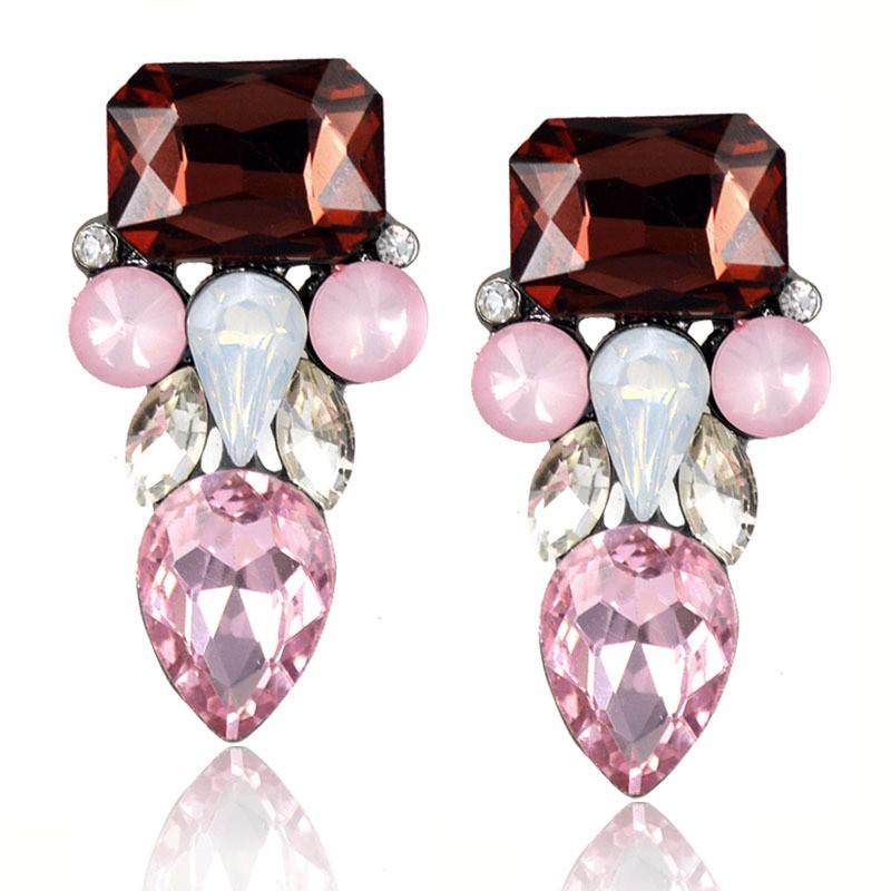 Style européen américain multi couleur strass géométrique boucles d'oreille Unique Face Design Femmes Piercing Boucles d'oreilles cadeau de Noël