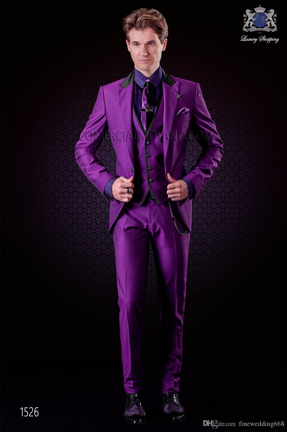 Compre Personalizar Classic One Button Peak Lapel Purple Wedding ...