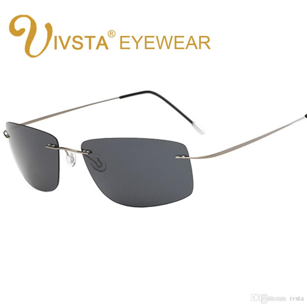 88a51d9f13 IVSTA New 2018 The Matrix Style Polarized Driving Men Sunglasses Titanium  Memory Frame Rimless Light Sun Glasses Mirror Lenses Night Vision Spitfire  ...