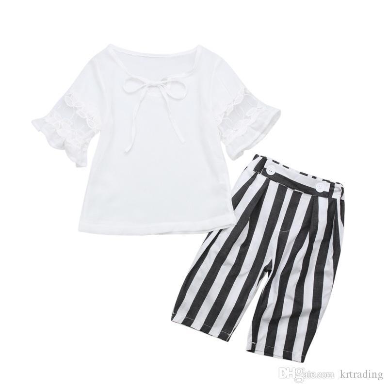 966f3477bb57 1-5T Girls Fashion Summer Outfits Set White Chiffon Lace Sleeve Top+ ...