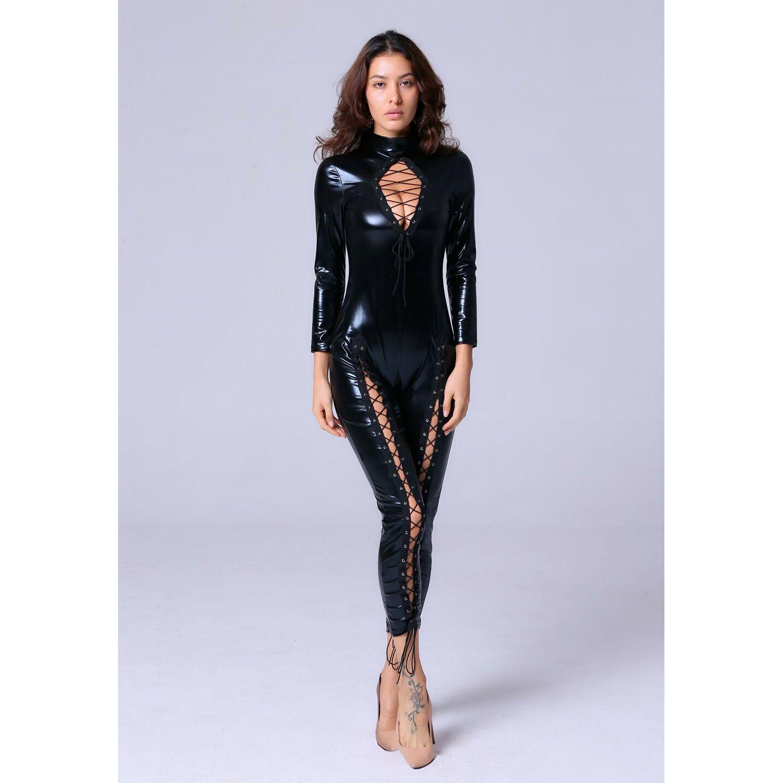 1878e891a966 2019 New Hot Sale Sexy Black Wet Look Long Sleeve Bodysuit Women Black  Leather Bodysuits Erotic Latex Catsuit Cat Women Jumpsuits XXL From  Bestdh2014, ...