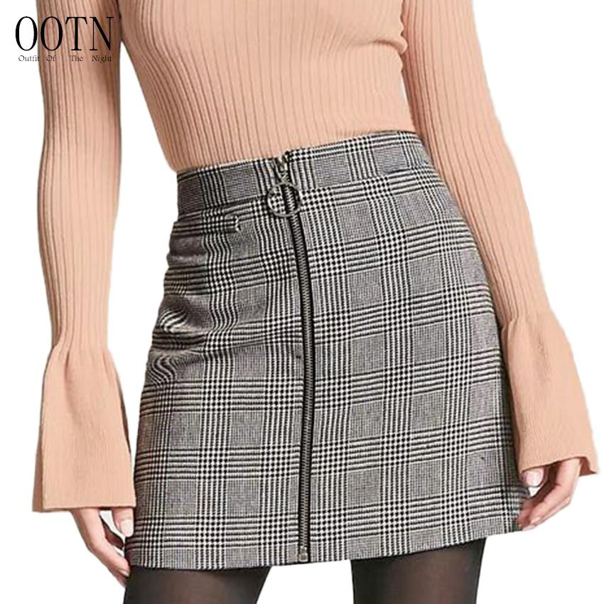 dde08221af OOTN Sexy Black White Plaid Skirts Women Short Pencil Skirt Zipper In Front  Female 2018 Summer Mini Skirt Bodycon Vintage Casual