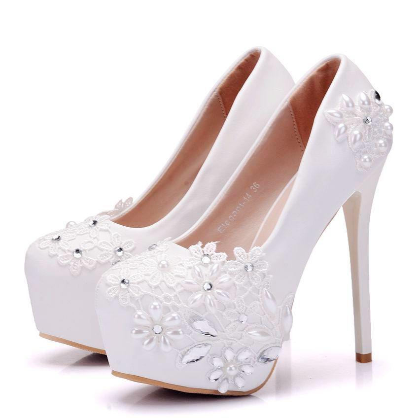 fb5a787656498 Acquista Nuove Scarpe Eleganti A Punta Tonda Da Donna Bianche Lace Lace  Tacco Alto Da Sposa Scarpe Con Tacco Alto Crystal Plus Size Shoes A  43.42  Dal ...