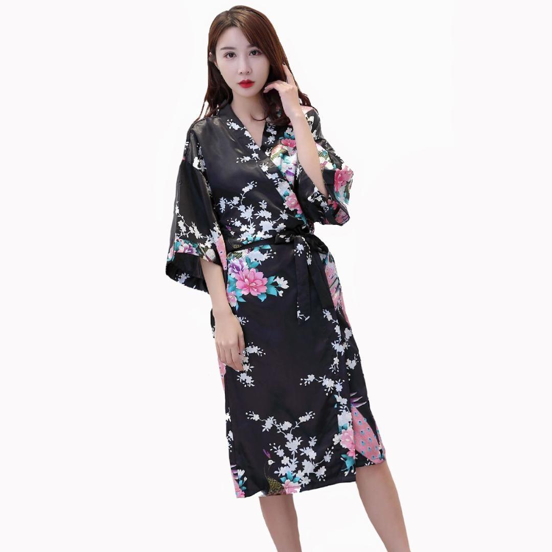 d0122a64a Compre Mujeres Negras Sexy Kimono Albornoz Vestido De Gran Tamaño Tres  Cuartos Novia Dama De Honor Traje De Boda Pavo Real Casa Ropa S 3XL A   42.82 Del ...