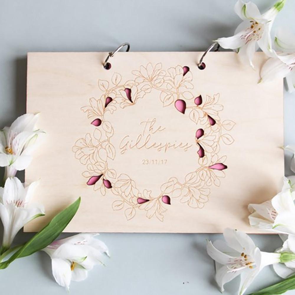 Grosshandel Personalisierte Hochzeit Gastebuch Holz Hochzeit
