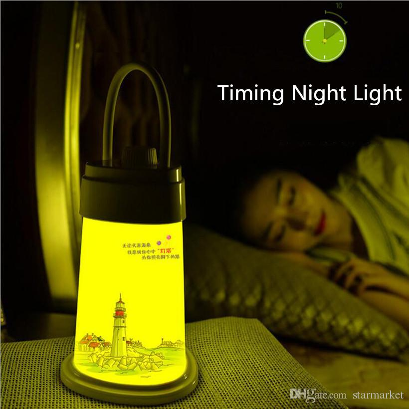 Cute Adjustable Lighthouse LED Dimming Night Light Portable Table Desk Lamps Rechargeable Battery Lamp Bathroom Corridor Bedside Kids Lamp
