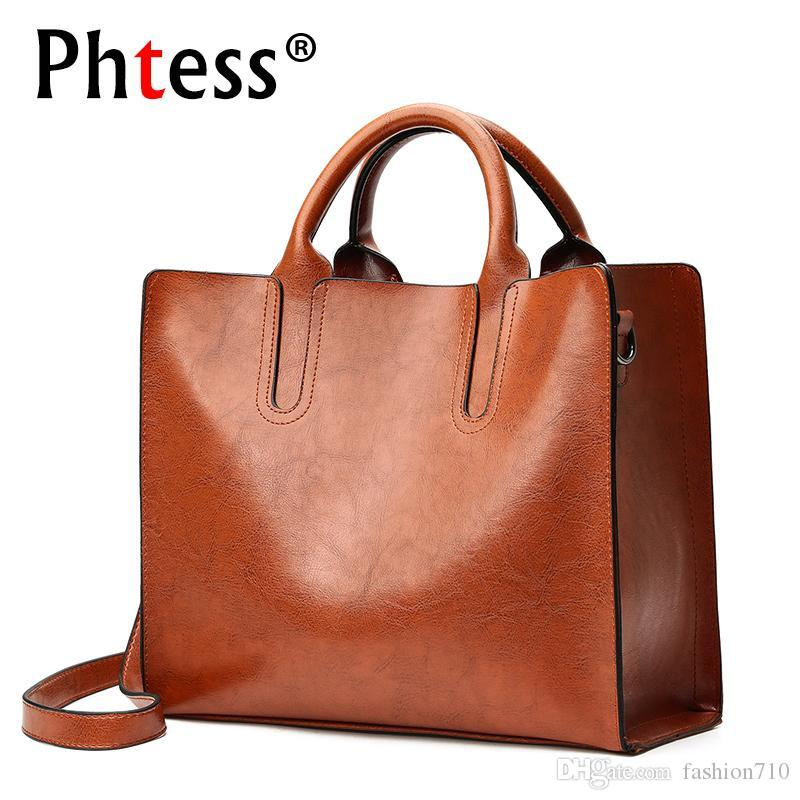 2018 Large Bags Capacity Luxury Tote Brown Female Handbags Leather L354jScqAR