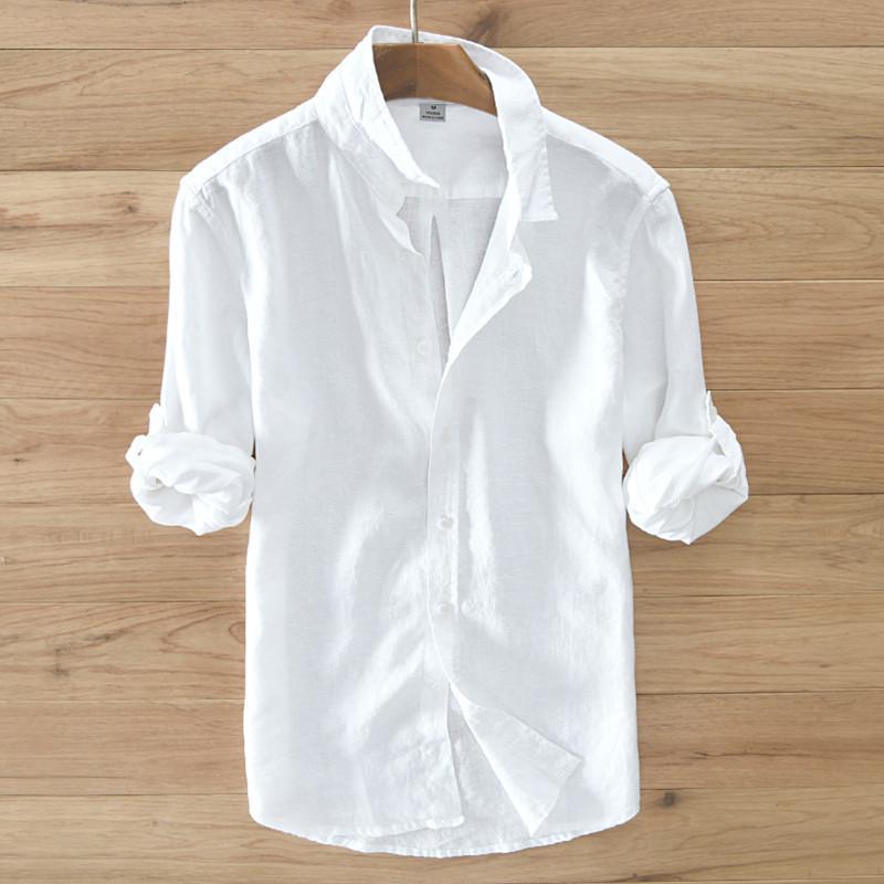 c556dbdad1427 Satın Al 2017 Yaz Beyaz Gömlek Erkekler Konfor Keten Gömlek Erkekler Uzun  Kollu Casual Gömlek Marka Giyim Erkek Gömlek Moda S 3XL Camisa, $40.05 |  DHgate.
