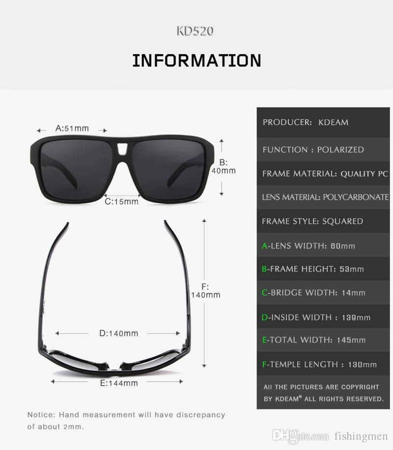 UV-Engelleme Ejderha Polarize Güneş Gözlüğü Erkekler Plaj Spor Gözlük Polaroid Unisex Ücretsiz Paketi Ile 60'mm Squared Sunglass