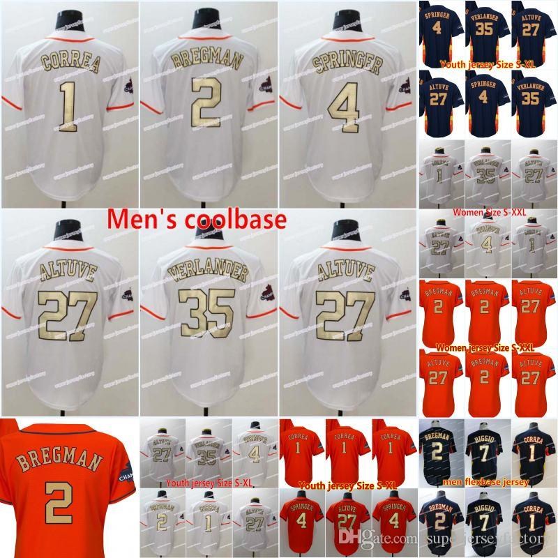 newest 69cf5 ab1b7 2 Alex Bregman 2018 Champions Gold Program Men's 1 Carlos Correa 4 George  Springer 27 Jose Altuve 35 Justin Verlander Baseball Jerseys