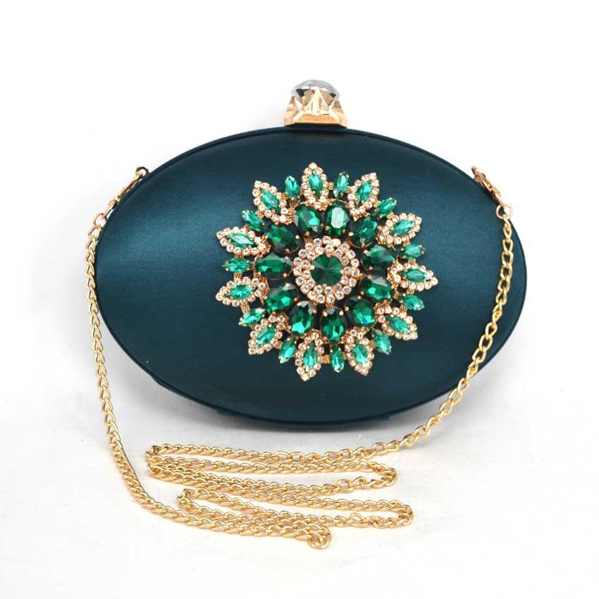 d3986aa9e0dbe New Women Satin Clutch Bag Green Crystal Flower Oval Hard Case Day Clutches  Ladies Evening Bag Woman Shoulder Handbag Bolsas Z99 White Handbags  Discount ...