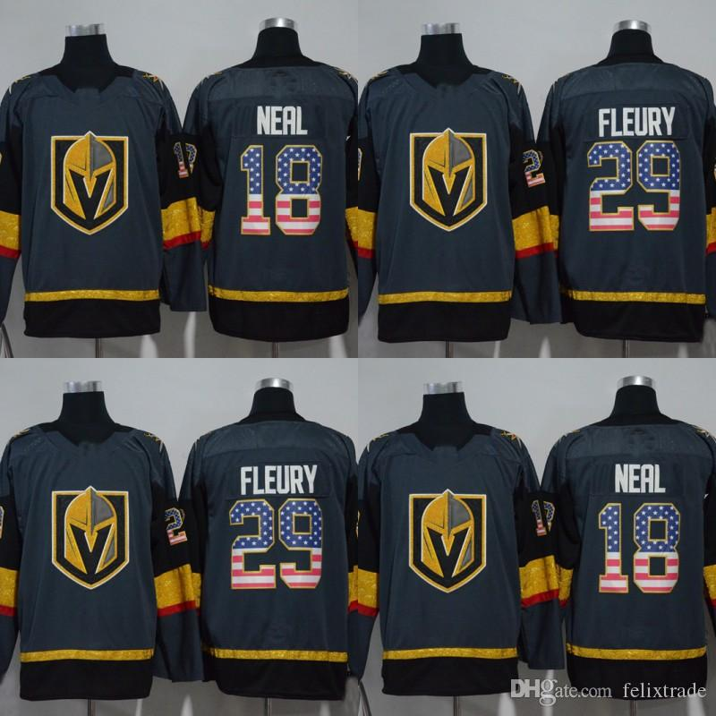 buy popular caa76 8b949 Vegas Golden Knights Jersey With America Flag Nmubers 29 Marc-Andre Fleury  18 James Neal 2017-18 Season All Stiched Hockey Jerseys IN STOCK