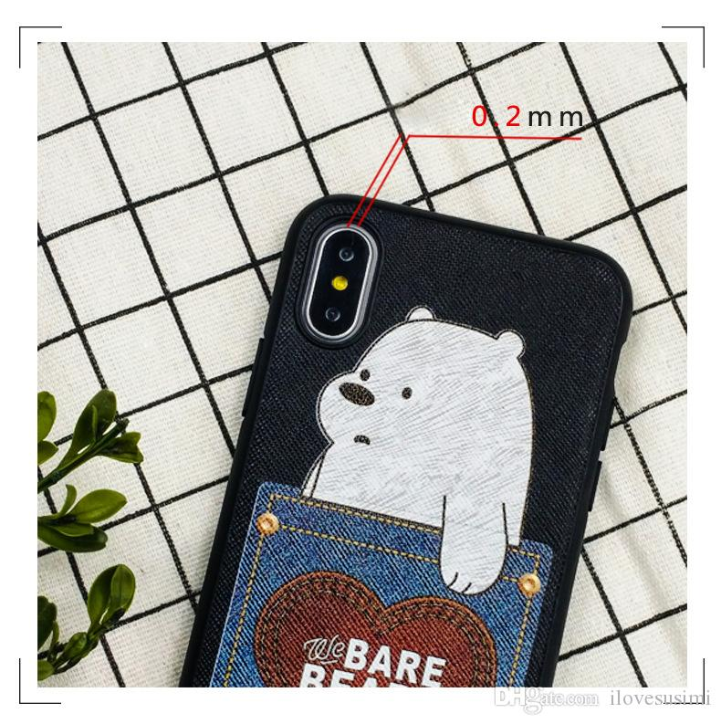 Creative Card Money Holder Pocket Phone Case for iPhone X 7 8 6 6s Plus Cases Cute Bear Back Printing Skin Cover TPU PC Texture
