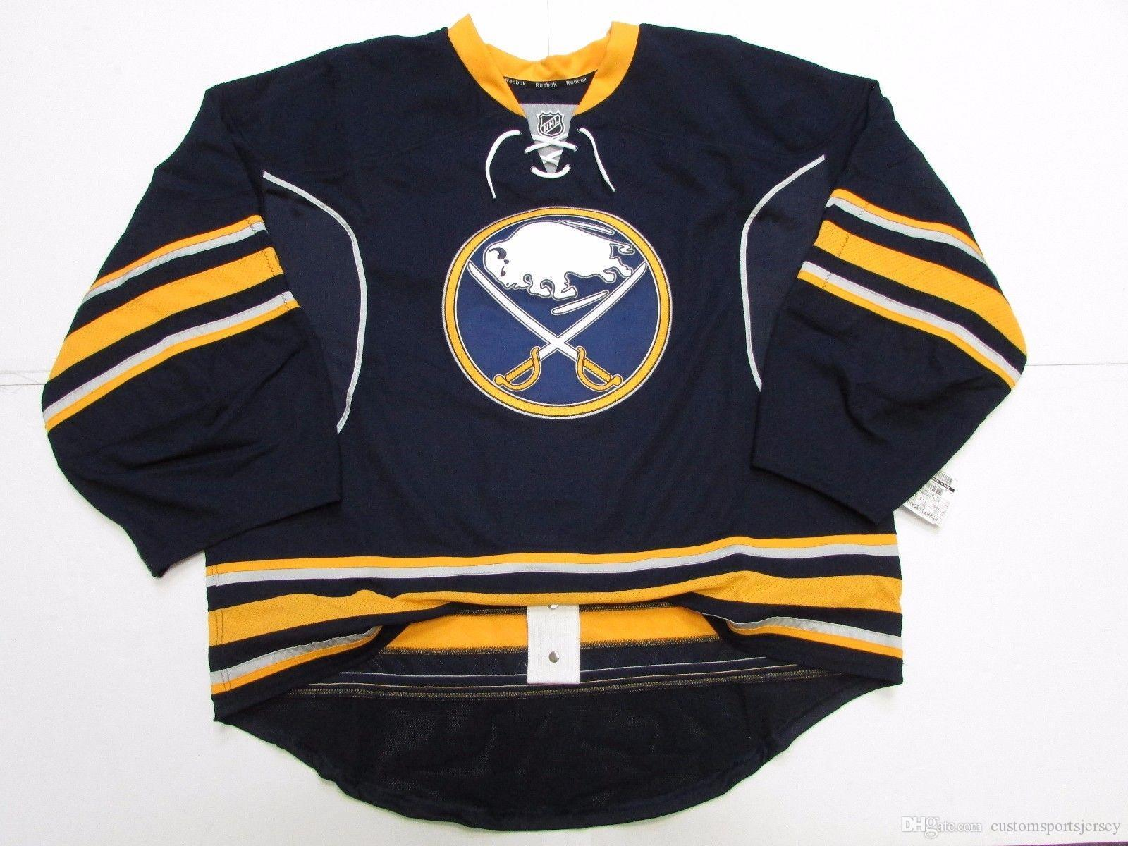 41c6681a3e9 2019 Cheap Custom BUFFALO SABRES HOME JERSEY GOALIE CUT 58 Stitch Add Any  Number Any Name Mens Hockey Jersey From Customsportsjersey