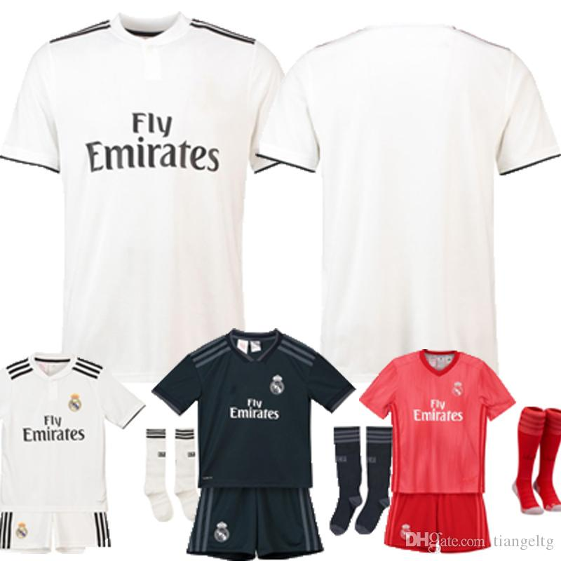 huge selection of fe022 56c7d Real Madrid Soccer Jersey Home White Away 3rd Kids Kits Top Quality KROOS  A.SENSIO BALE MARIANO Polyester Short Sleeve Football Shirts