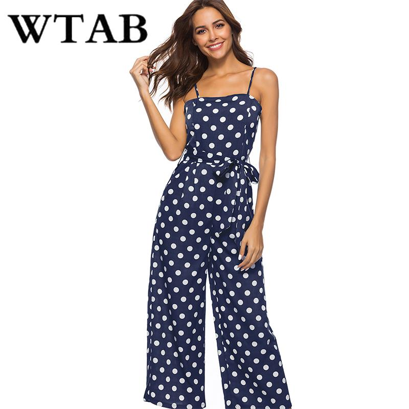7cf69665dcb WTAB Dot Print Summer Jumpsuit 2018 Strap Off Shoulder Sleeveless Beach  Women Bodysuit Bodycon Belt Female Jumpsuit Plus Size UK 2019 From Worsted